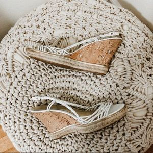 Cole Haan white braided wedges sandals shoes 7